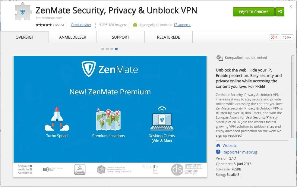 Sådan installerer du ZenMate VPN i Google Chrome