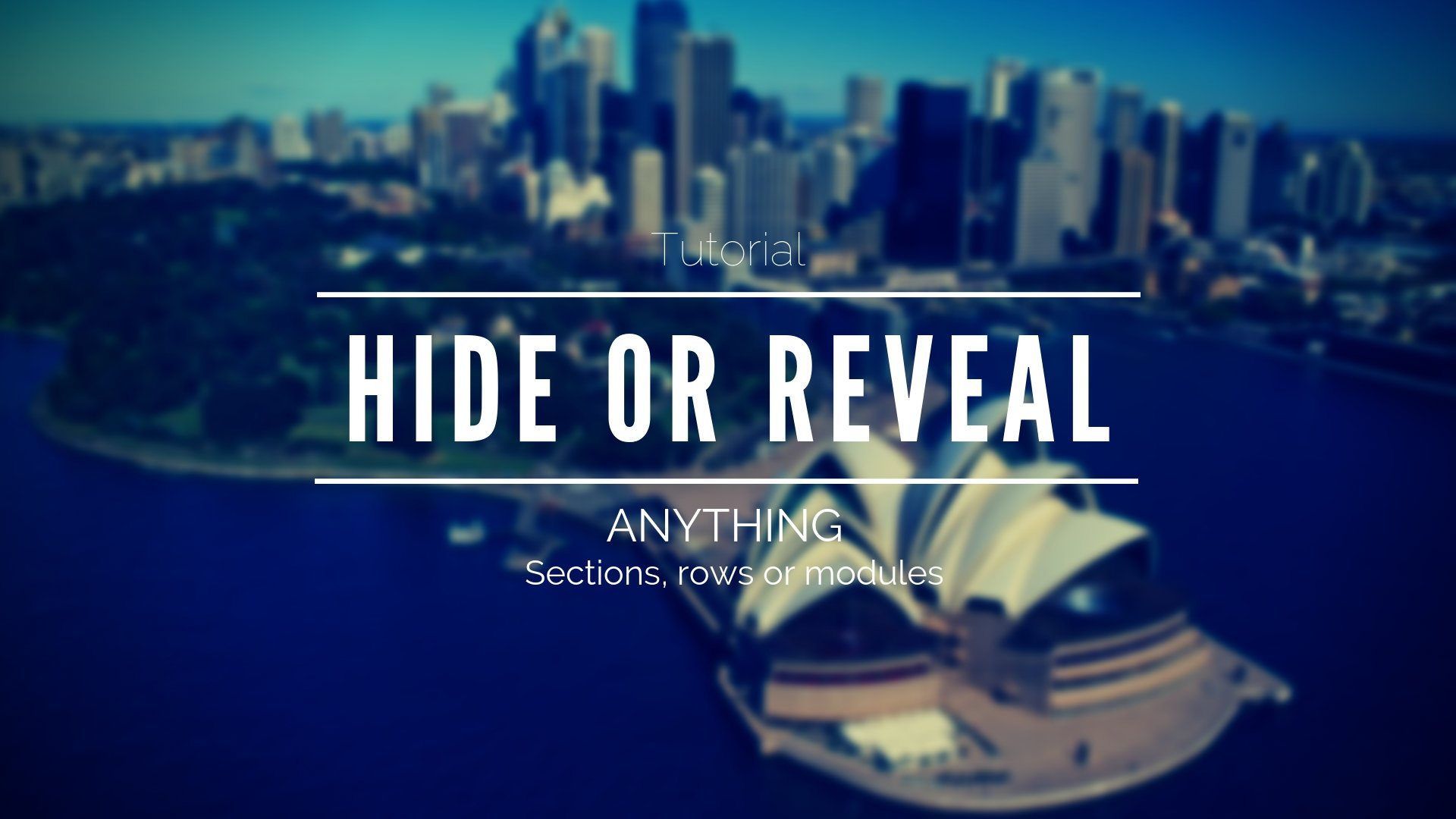 Hide and reveal any section, row or module